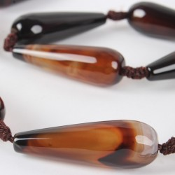 Natural Agate faceted drop bead  G-E216-04