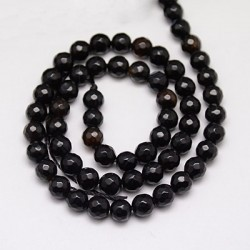 Natural agate  faceted  black   G-G580-6mm-33